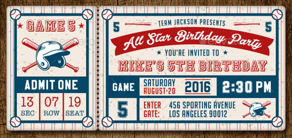 baseball ticket invitation template free
