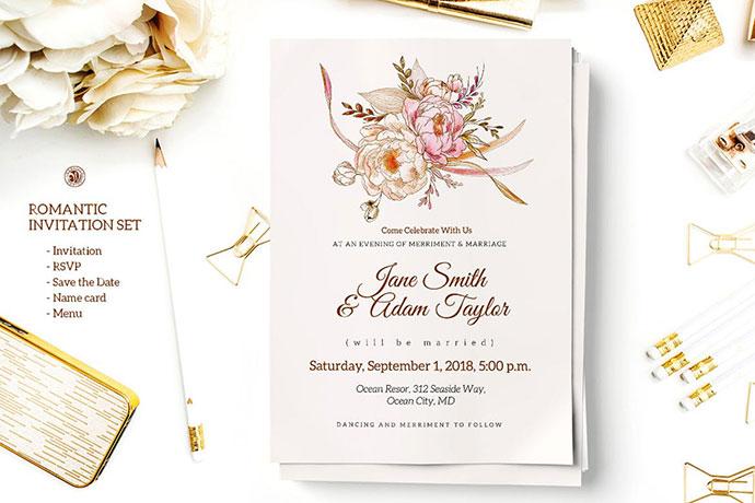 25 Gorgeous PSD Wedding Invitation Templates \u2013 Web  Graphic Design