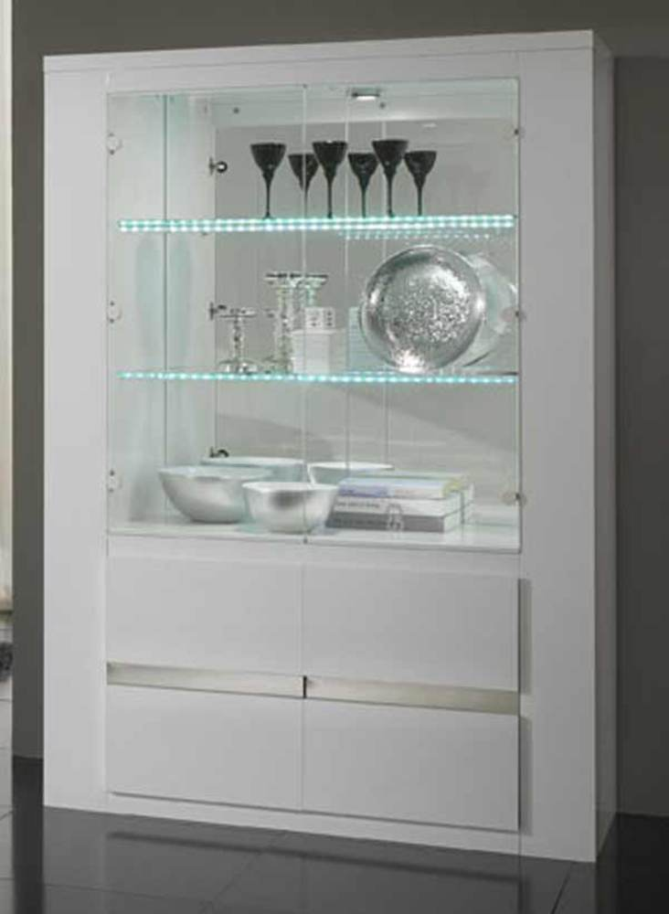 Meuble Tv Metal Blanc Vitrine Tania Laque Blanc Blanc/metal
