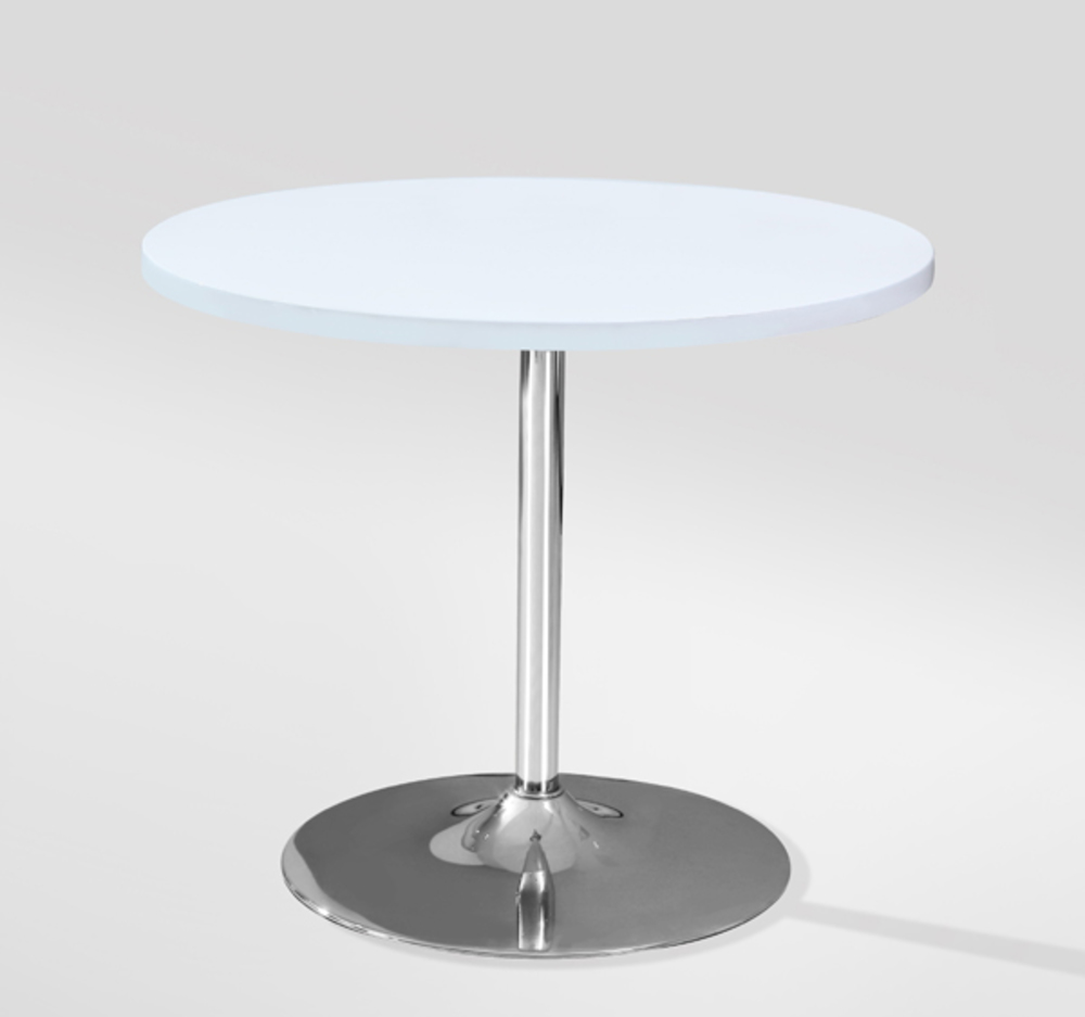 Table Ronde Pied Central Fly Table De Repas Leo Blanc
