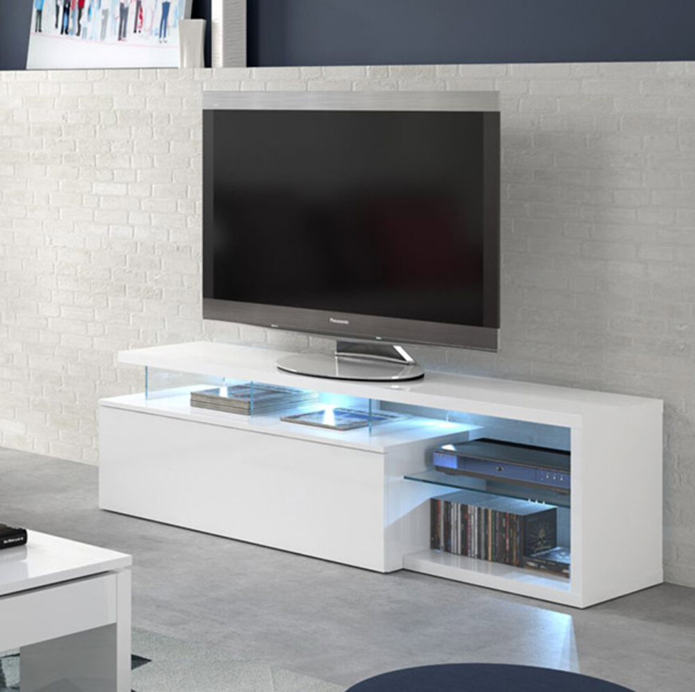 Meuble Tv Hifi Blanc Meuble Tv Quintana Blanc Brillant