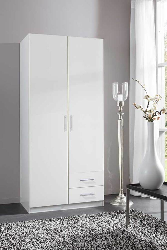 Lits Fly Armoire 2 Portes Dont 1 Miroir 2 Tiroirs Spectral Blanc