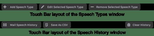Touch Bar – Speech Type and Speech History