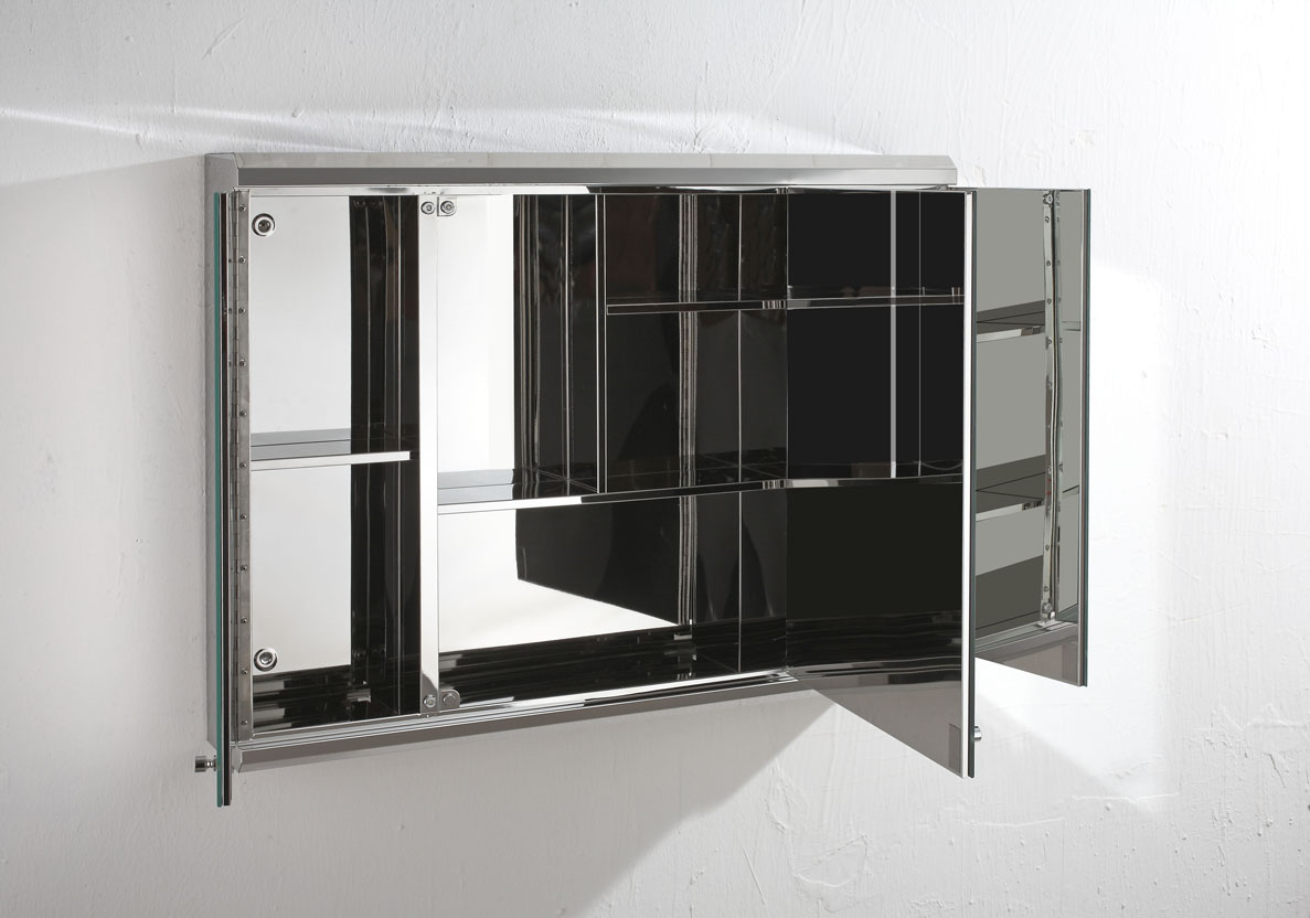 3 Door Mirrored Bathroom Cabinet Biscay 80cm X 55cm Triple Door Three Door Mirror Bathroom