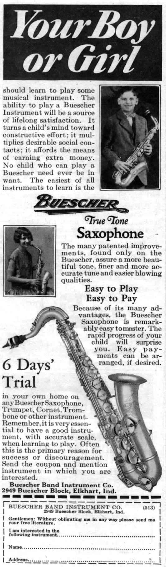 vintage ad, 1929 Buescher True Tone saxophone advertisement, young boy, young girl, c melody saxophone