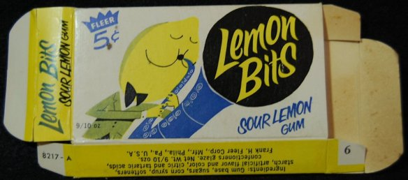 Fleer Lemon Bits Gum, vintage box, 1960s, saxophone, lemon playing saxophone