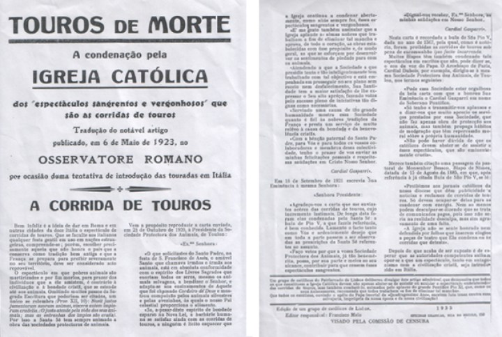 touradas basta igreja catolica