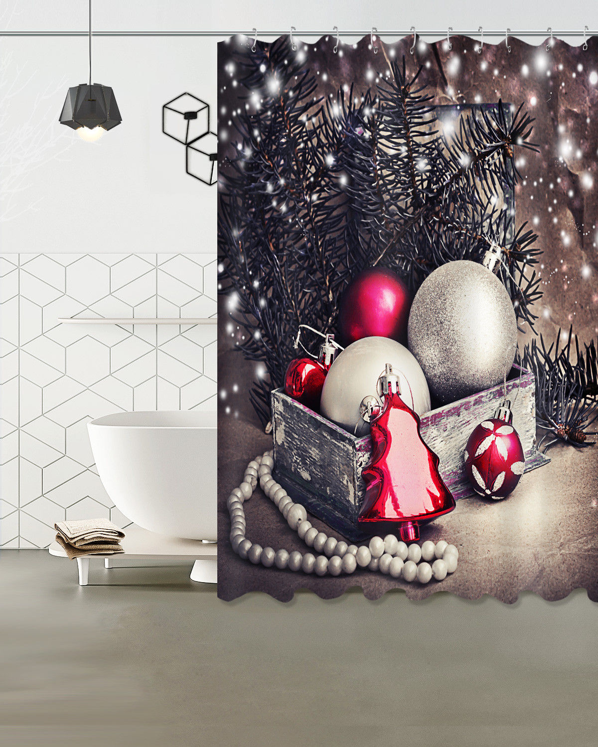 Shower Curtains Sale Christmas Shower Curtain Balls Grey And Tree Red