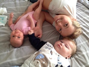 Mum Lucy Crunden with son Theo and daughter Mabel