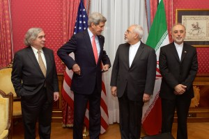 "From left to right: the United States Secretary of Energy Ernest Moniz, the United States Secretary of State John Kerry, the Iranian Foreign Minister Mohammad Javad Zarif and the head of the Atomic Energy Organization of Iran Ali Akbar Salehi, in the ""Salon Élysée"" of the Beau-Rivage Palace (Lausanne, Switzerland) on 16 March 2015"