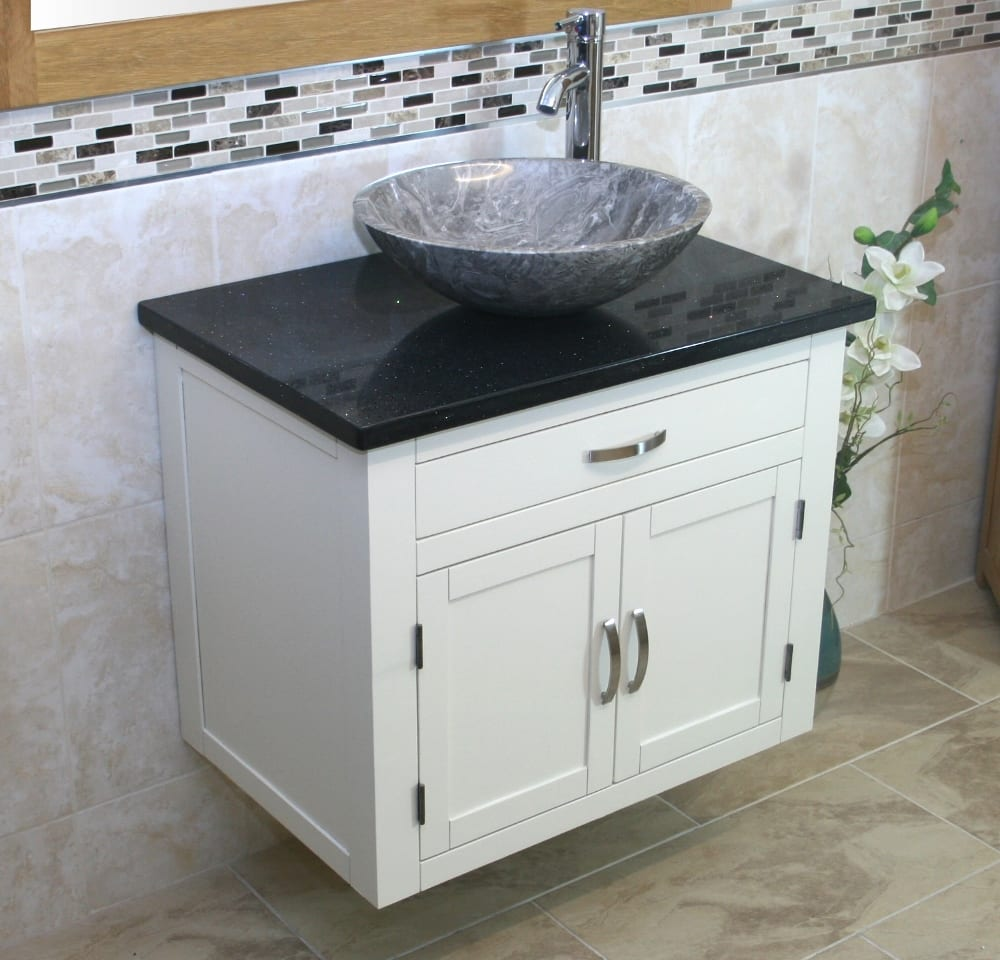 Painted Wall Hung Vanity Unit With Quartz Top Stone Wash Basin Choice