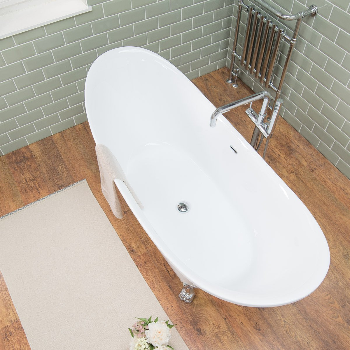 Best Moebel24 Modern Designer Gloss White Large Freestanding Baths Roll