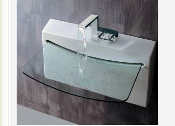 275quot Lacava Block Wall Mount Sink W Glass Lav Bathroom