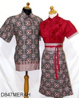 D Merah Sarimbit Batik Model Dress Kancing Depan Belakang Karet