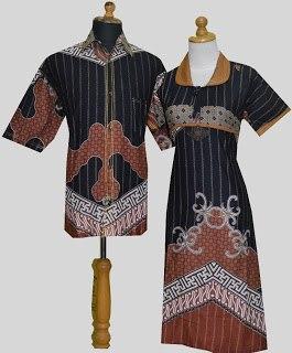 D Coklat Sarimbit Batik Model Dress Kancing Depan Belakang Karet