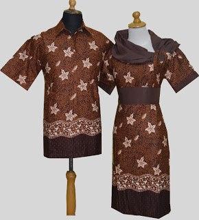 D Coklat Sarimbit Batik Model Dress Krah Asimetris Obi Bisa