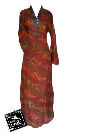 Baju Batik Gamis Viskos Motif Batik Pelangi Gamis Batik Murah