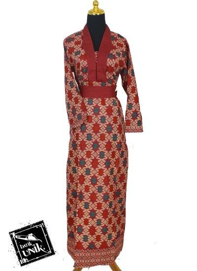 Baju Batik Gamis Katun Motif Songket Etnik Tumpal Gamis Batik Murah