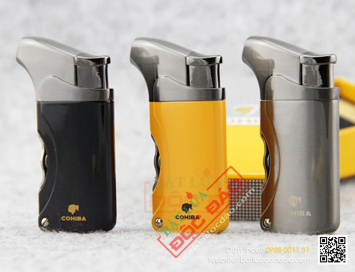 Bật lửa khò hút Cigar (xì gà) chính hãng Cohiba loại 1 tia lửa có 2 thiết bị đục lỗ cho Cigar mini và Cigar đại - Mã SP: BLH006