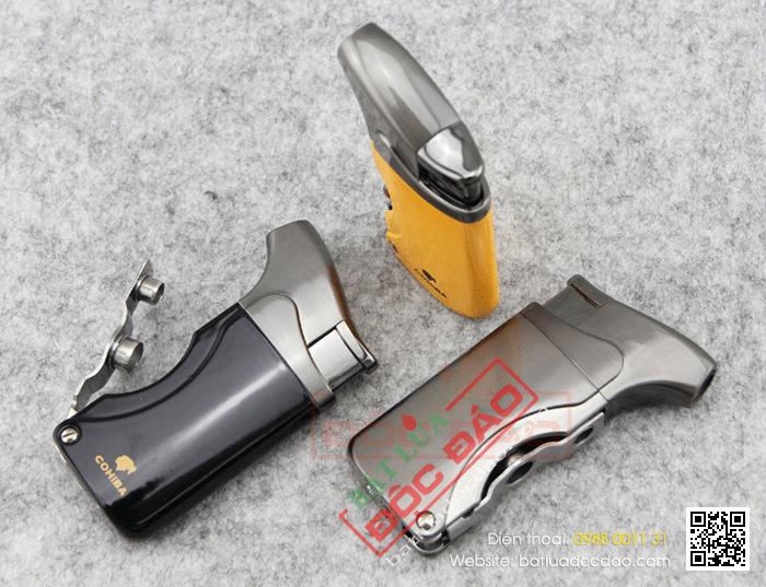 Bật lửa khò hút Cigar chính hãng Cohiba loại 1 tia lửa có 2 thiết bị đục lỗ cho Cigar mini và Cigar đại - Mã SP: BLH006