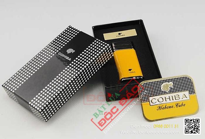 Bật lửa khò hút Cigar Cohiba chính hãng loại 1 tia lửa có thiết bị đục Xì gà - Mã SP: BLH097