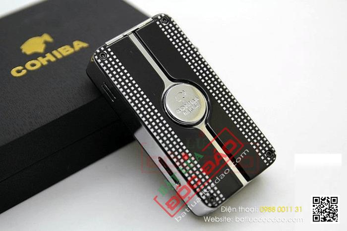 Bật lửa khò hút Cigar Cohiba chính hãng loại 3 tia lửa siêu mạnh có thiết bị đục lỗ Xì gà - Mã SP: COB58