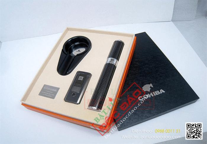 Set gạt tàn xì gà (Cigar), bật lửa xì gà, ống đựng xì gà Cohiba - Mã SP: T307