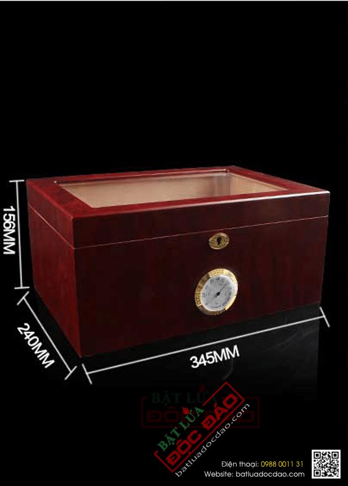 Hộp giữ ẩm Cigar Cohiba mặt kính có khóa cao cấp- Mã SP: H689