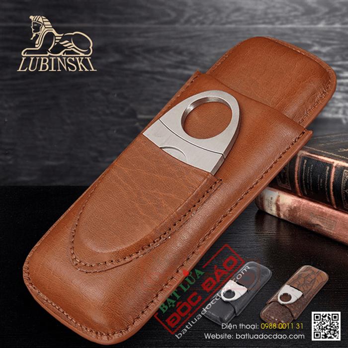 Set bao da Cigar (xì gà), dao cắt Cigar Cohiba chất liệu da loại 2 điếu chính hãng- Mã SP: HY3203L
