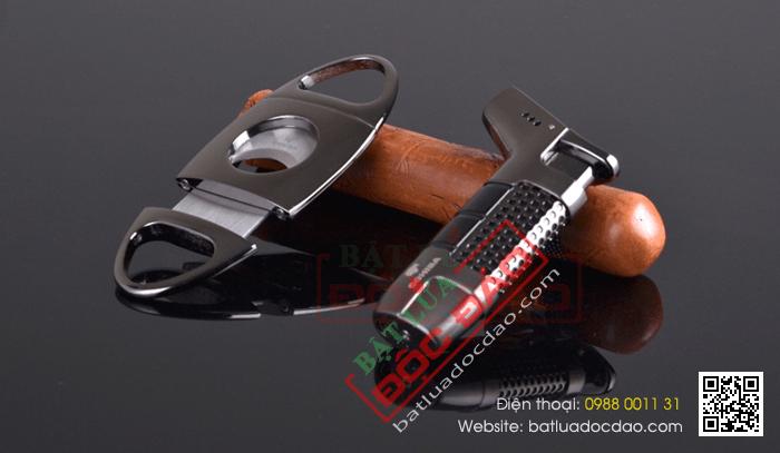 Set hộp đựng Cigar (xì gà), bật lửa Cigar (xì gà), dao cắt Cigar Cohiba chính hãng - Mã SP: S001