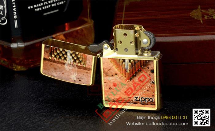 Bật lửa Zippo Mỹ màu đồng in hình viên đạn - Mã SP: Z041