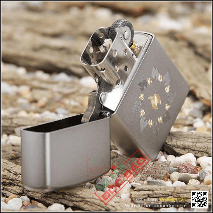 Bật lửa Zippo Mỹ khắc hình vòng lửa bạc - Mã SP: Z047