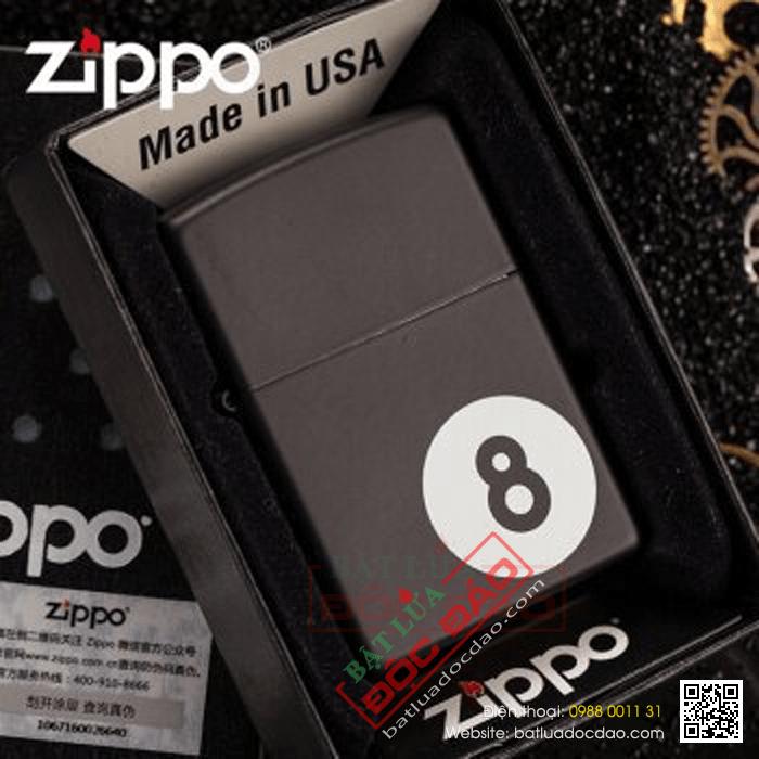 Bật lửa Zippo Mỹ in hình số 8 - Mã SP: Z075