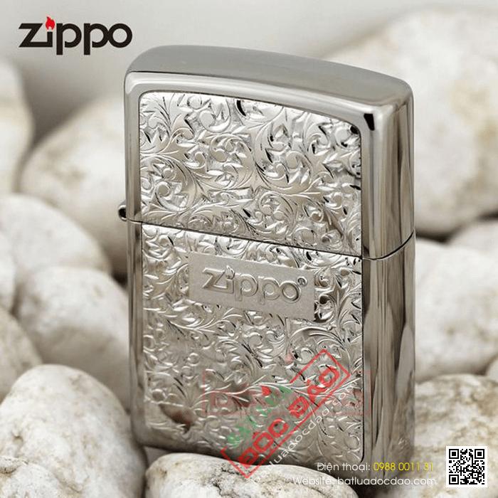 Bật lửa Zippo màu bạc hoa văn hoa lá - Mã SP: Z102