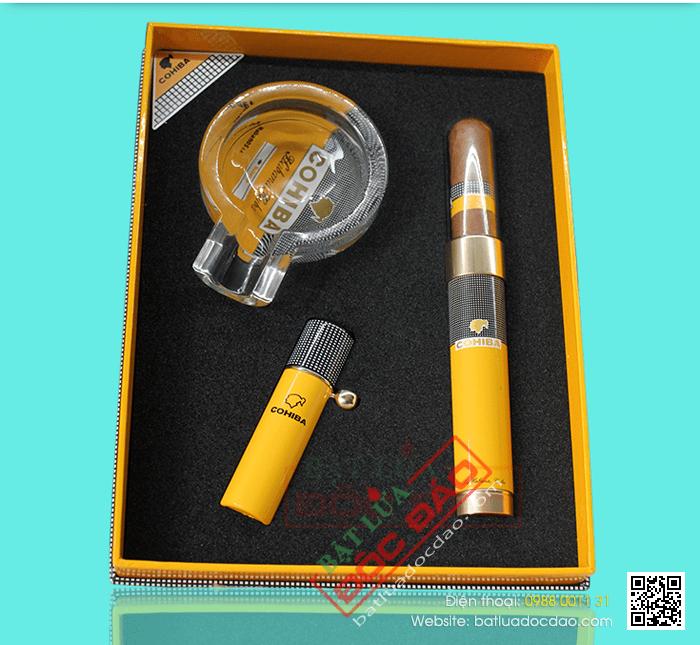 Set gạt tàn Cigar (xì gà), bật lửa khò Cigar, ống đựng Cigar Cohiba chính hãng - Mã SP: T17