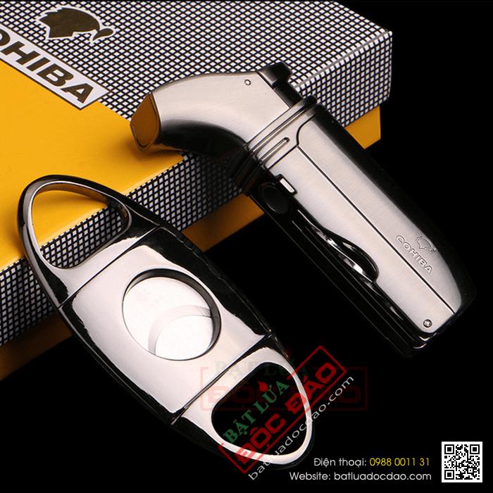 Set bật lửa hút Cigar (xì gà), dao cắt Cigar Cohiba chính hãng - Mã SP: T30B