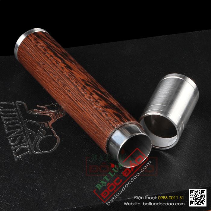 Ống đựng Cigar (xì gà) Lubinski chính hãng gỗ bọc kim loại - Mã SP: D012A