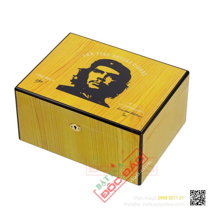 Hộp giữ ẩm Cigar (xì gà) Cohiba màu vàng chất liệu gỗ tuyết tùng - Mã SP: H524