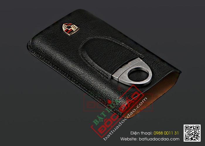 Set bao da đựng Cigar (xì gà), dao cắt Cigar Cohiba logo Porsche - Mã SP: BP01