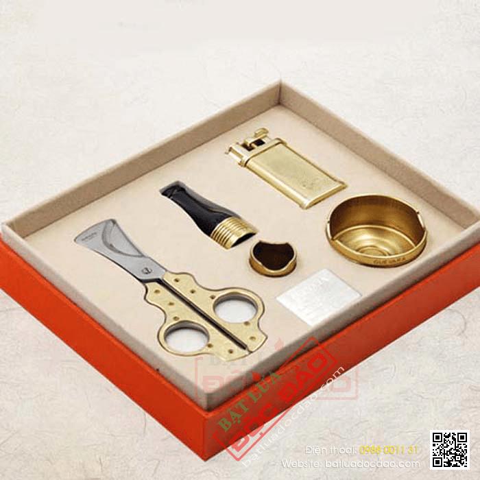 Set gạt tàn, bật lửa khò, kéo cắt, tẩu, đế để xì gà Guevara - Mã SP: TG65