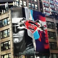 There's a giant 'Batman v Superman' banner hanging in NYC