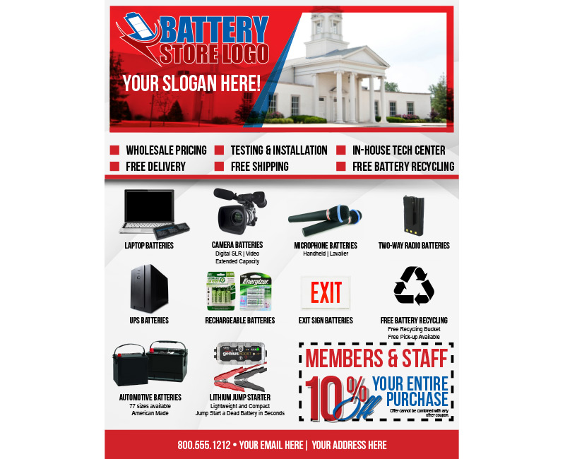 Commercial Target Flyer - Church - Battery Partner Marketing Program