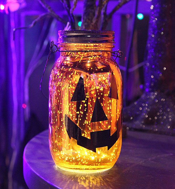 Battery Operated Wall Sconces Lighted Mercury Glass Jack-o-lantern Mason Jar Luminary