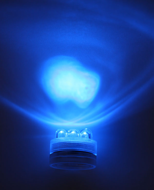 Battery Operated Wall Sconces Super Bright 3 Led Blue Waterproof Tea Light - Set Of 10