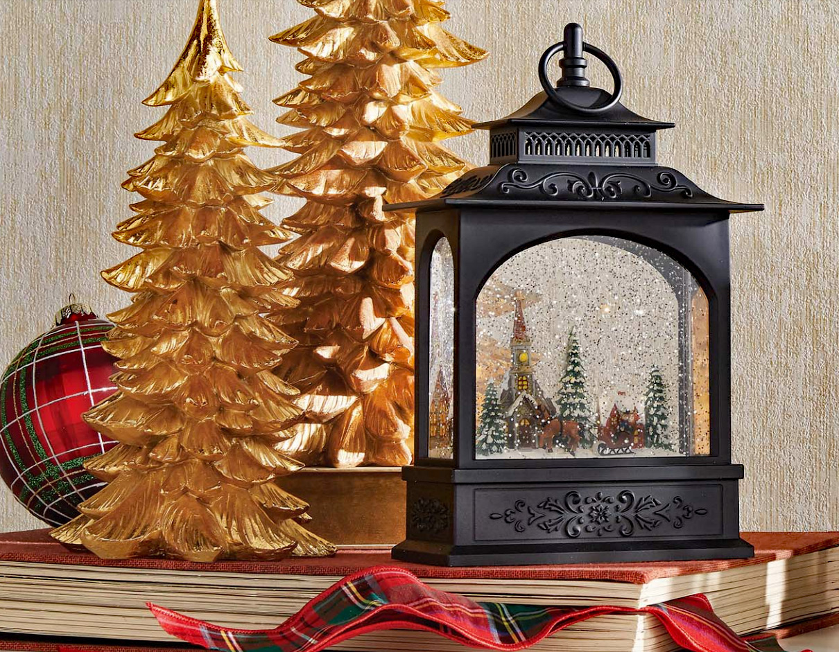 Battery Operated Wall Sconces 11 Inch Town Scene Lighted Water Lantern - Timer