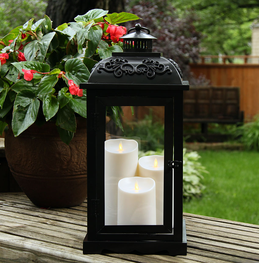 Battery Operated Wall Sconces Large 21 Inch Luminara Lantern With 3 Moving Flame Pillars