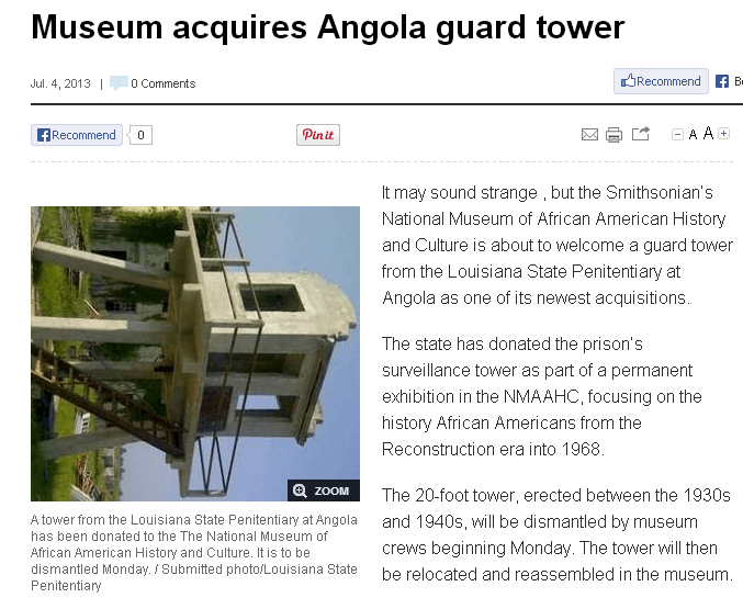 Museum acquires #Angola guard tower #Louisiana