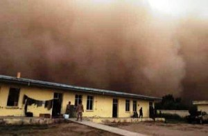 """The shouts of """"Hey, check this out"""" echoed through the concrete walls at patrol base Yellow Schoolhouse as a fast-moving sandstorm blew in May 16. (Photo: Thomas Brown/Staff)"""