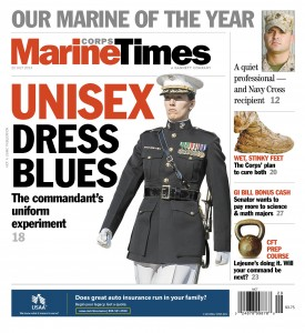Marine Corps Times cover from July 22, depicting wear test for unisex dress blues.