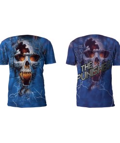 Front And Back View Of The Punisher Performance Tee Shirt by Battle Tek Athletics—The Perfect Performance Tee Shirt For Athletic Training, MMA And Grappling Sports